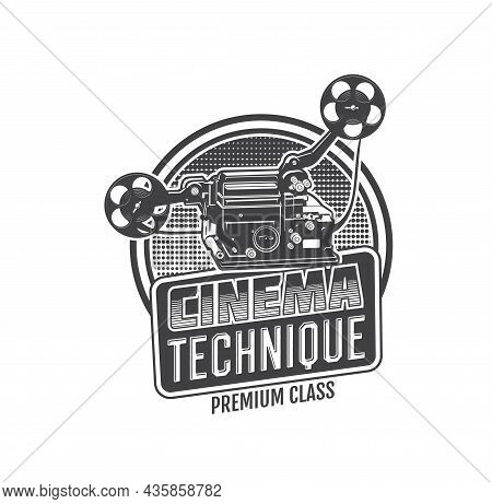 Vintage Movie Camera Isolated Vector Icon Of Retro Cinema Or Video Projector With Film Reel And Stri