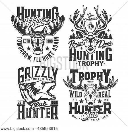Hunting Shirt Prints, Hunt Club Trophy Animals, Vector Wild Deer, Elk And Bear Emblems. Hunter Club