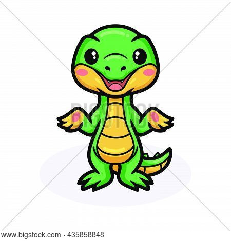 Vector Illustration Of Cute Little Crocodile Cartoon Standing