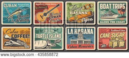 Cuba And Havana Travel Landmark Retro Posters. Vector Caribbean Sea Beach, Tropical Palms, Cuban Map