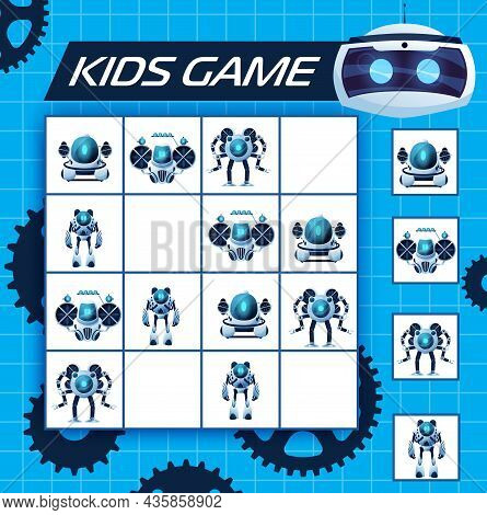 Sudoku Kids Game With Robots, Vector Riddle With Cartoon Ai Cyborgs, Humanoids And Androids Characte