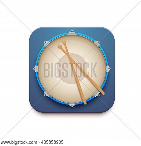 Musical Drum Kit App Vector 3d Icon Of Snare Drum With Sticks. Isolated Square Button Of Mobile Or W