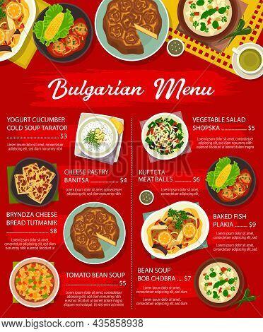 Bulgarian Cuisine Restaurant Dishes Menu. Bob Chobra And Yogurt Cucumber Cold Tarator Soup, Cheese P