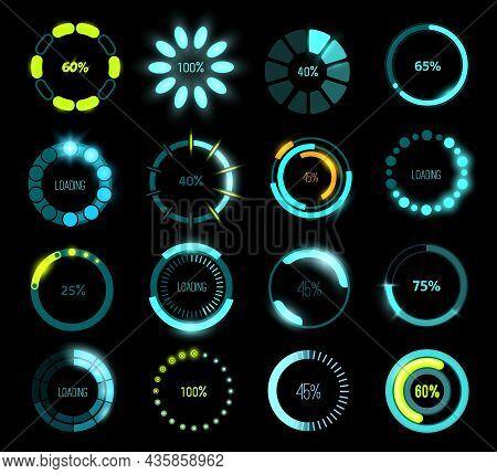 Hud Futuristic Loading Bars, Game Or Program Ui Interface. Vector Circular Progress Bars With Glowin