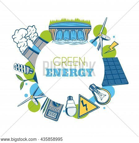 Green Energy Vector Round Frame. Ecology Environment, Water And Nature Protection. Save Nature, Powe