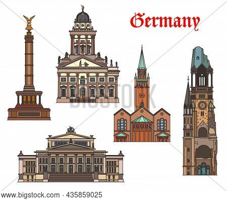 Germany Architecture, Berlin Landmarks And Buildings, Vector German Churches And Cathedrals. St Matt