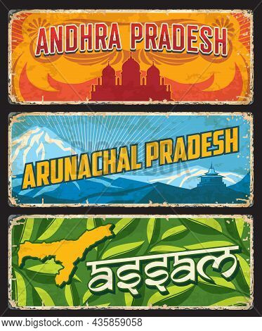Assam, Andhra And Arunachal Pradesh, India States Or Regions Vector Tin Signs. Indian States Metal P