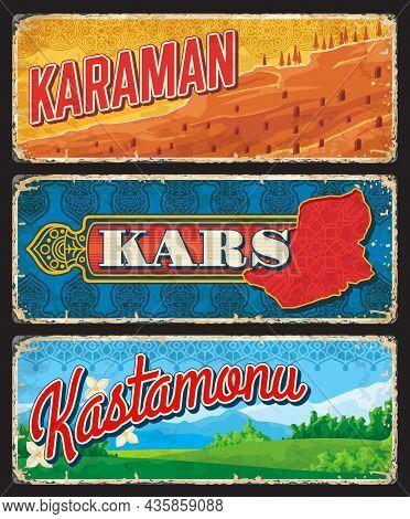 Karaman, Kars And Kastamonu Il And Provinces Of Turkey Vintage Plates. Vector Map Of Turkish Region,
