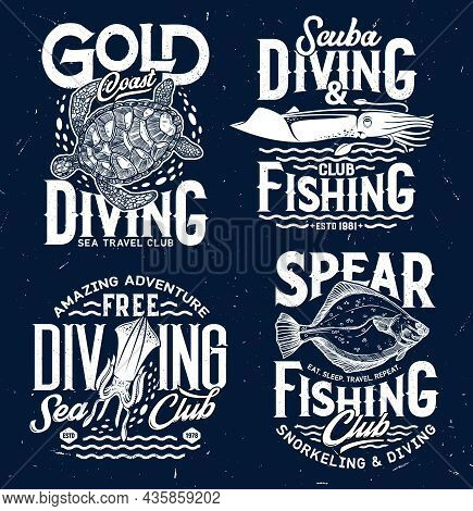 Spear Fishing And Ocean Scuba Diving Club T-shirt Print. Sea Turtle, Squid Or Cuttlefish And Flounde