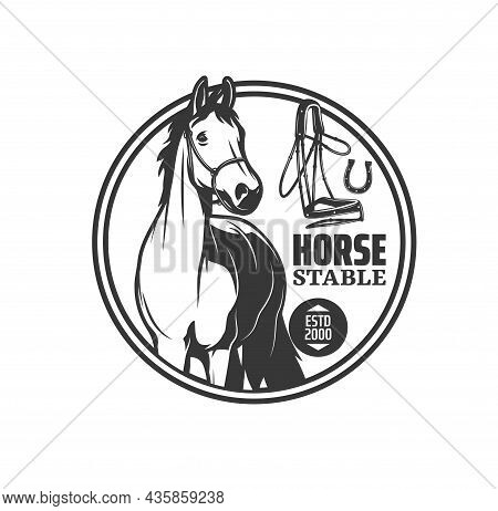 Horse Stable Icon For Equestrian Riding Hippodrome And Equine Sport, Vector Emblem. Horse Mustang Or