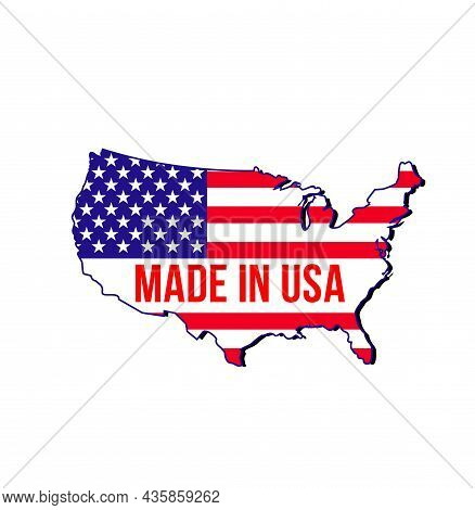 Made In Usa Label With Vector Map Of United States Of America National Banner. The Stripes And Stars