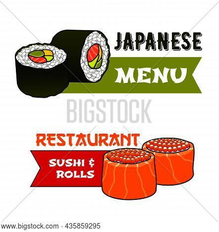 Sushi And Rolls Vector Icons With Japanese Cuisine Restaurant Food. Maki And Uramaki Sushi With Salm