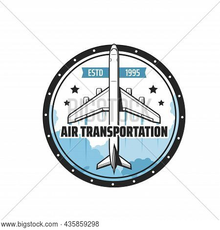 Air Transportation Vector Icon Of Plane, Airplane, Jet Airliner Or Jetliner Flying In Blue Cloud Sky