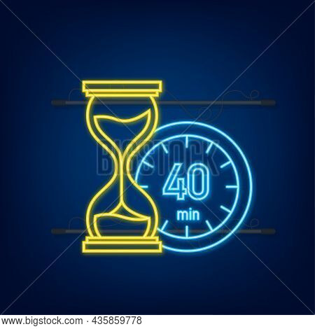 The 40 Minutes, Stopwatch Vector Neon Icon. Stopwatch Icon In Flat Style, Timer On On Color Backgrou