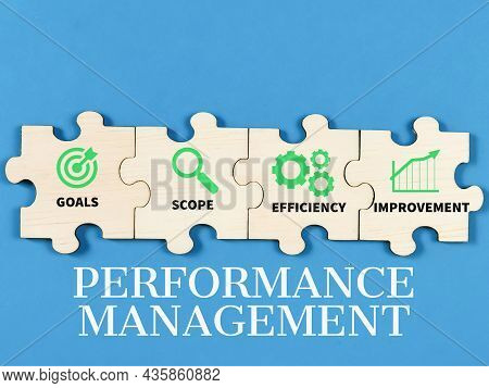 Business Performance Management Concept On Jigsaw Puzzle Pieces With Icons Against Blue Background.