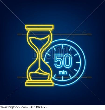 The 50 Minutes, Stopwatch Vector Neon Icon. Stopwatch Icon In Flat Style, Timer On On Color Backgrou
