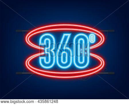 Neon The 360-degree Angle Icon. Geometric Mathematical Symbol. Full Rotation.