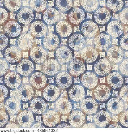Rustic French Grey Circle Printed Fabric. Seamless European Style Soft Furnishing Textile Pattern. B