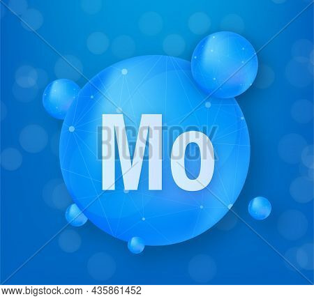 Mineral Mo Molybdenum Blue Shining Pill Capsule Icon. Substance For Beauty. Molybdenum Mineral Compl
