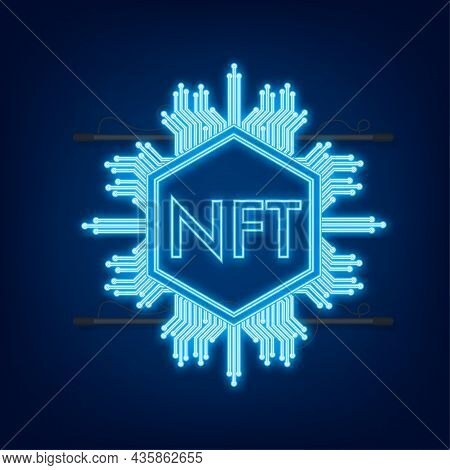 Neon Art Pattern With Nft For Game Background Design. Crypto Currency Finance Concept. Currency Icon