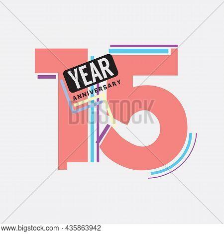 15th Years Anniversary Logo Birthday Celebration Abstract Design Vector Illustration. Eps 10