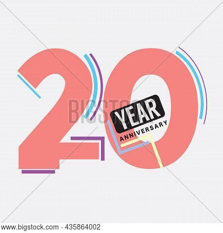 20th Years Anniversary Logo Birthday Celebration Abstract Design Vector Illustration. Eps 10