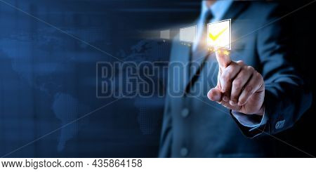 Customer Service And Experience Satisfaction Evaluation Concept. Businessman Chooses Pressing Five S