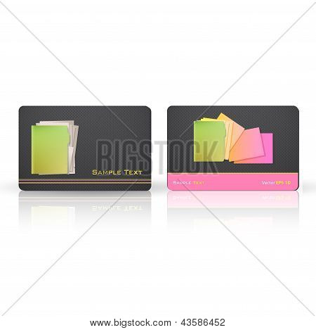 Business Card With Folder. Vector Design.card Phone