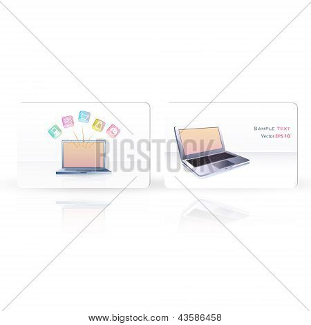 Business Card With Pc. Vector Design.