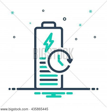 Mix Icon For Longest Battery Charge Backup Capacity Recharge Electric