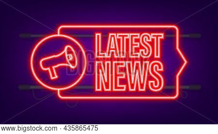 Latest News Neon Icon. Megaphone Banner. Web Design. Vector Stock Illustration