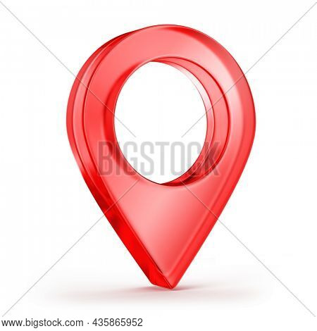 Destination 3d icon, Map pointer icon. GPS location symbol. 3d red glass pointer. 3d rendering