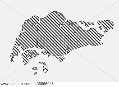 Vector Map Singapore Template Asia Outline Country
