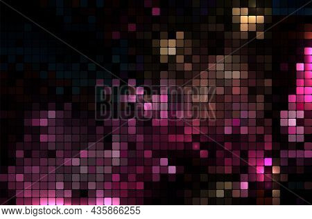 Abstract Mosaic Background Created From Shiny Purple Squares - Vector Illustration