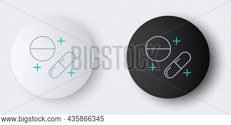 Line Medicine Pill Or Tablet Icon Isolated On Grey Background. Capsule Pill And Drug Sign. Pharmacy