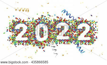 Inscription 2022 In Colorful Confetti On White Background - New Year Card. Vector Illustration.