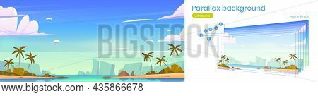 Tropical Landscape With Sea Bay, Palm Trees On Beach And Mountains On Horizon. Vector Parallax Backg