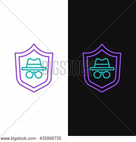 Line Incognito Mode Icon Isolated On White And Black Background. Colorful Outline Concept. Vector