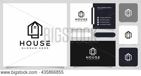 House Logo With Line Art Style. Home Build Abstract For Logo And Business Card Design
