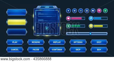 Game Buttons And Frames In Sci Fi Style. Design Elements, Menu And Assets For User Interface. Vector