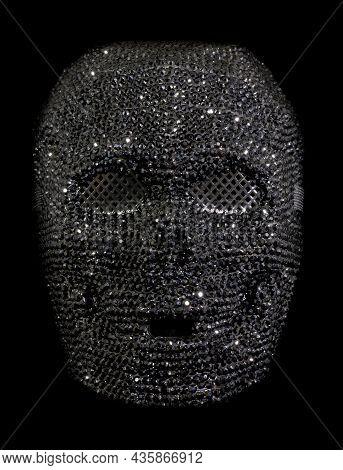 Rhinestone Skull Mask Isolated Against Black Background