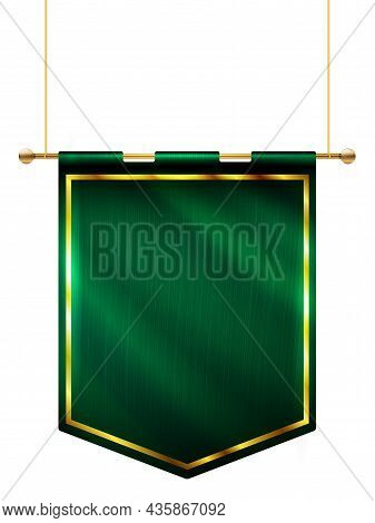 Medieval Style Green Flag Hanging On Gold Pole - Isolated On White Background. Vector Illustration.