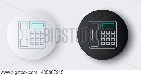 Line Telephone Handset Icon Isolated On Grey Background. Phone Sign. Colorful Outline Concept. Vecto