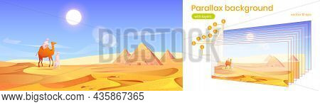 Parallax Background Egypt Desert Landscape With Pyramids And Bedouins With Camel. Egyptian Scenery V