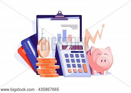 Maintain Financial Statements Of Company Vector Illustration. Financial Tax Report Flat Style. Accou