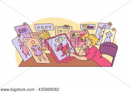Girl Ordering New Clothes Online Vector Illustration. New Collection From Trendy Brand Flat Style. O