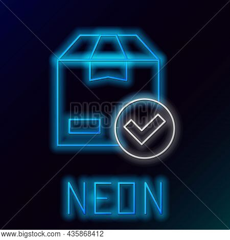 Glowing Neon Line Package Box With Check Mark Icon Isolated On Black Background. Parcel Box With Che