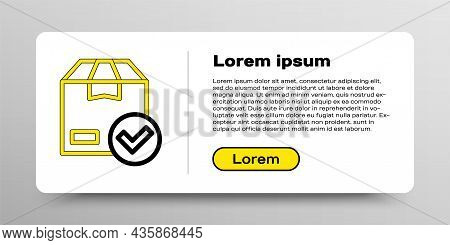 Line Package Box With Check Mark Icon Isolated On White Background. Parcel Box With Checkmark. Appro