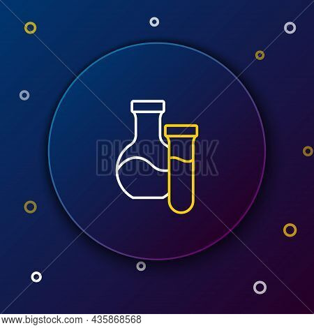 Line Test Tube And Flask Chemical Laboratory Test Icon Isolated On Blue Background. Laboratory Glass