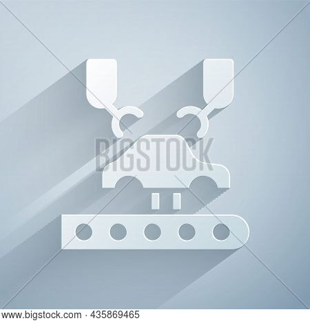 Paper Cut Industrial Machine Robotic Robot Arm Hand On Car Factory Icon Isolated On Grey Background.